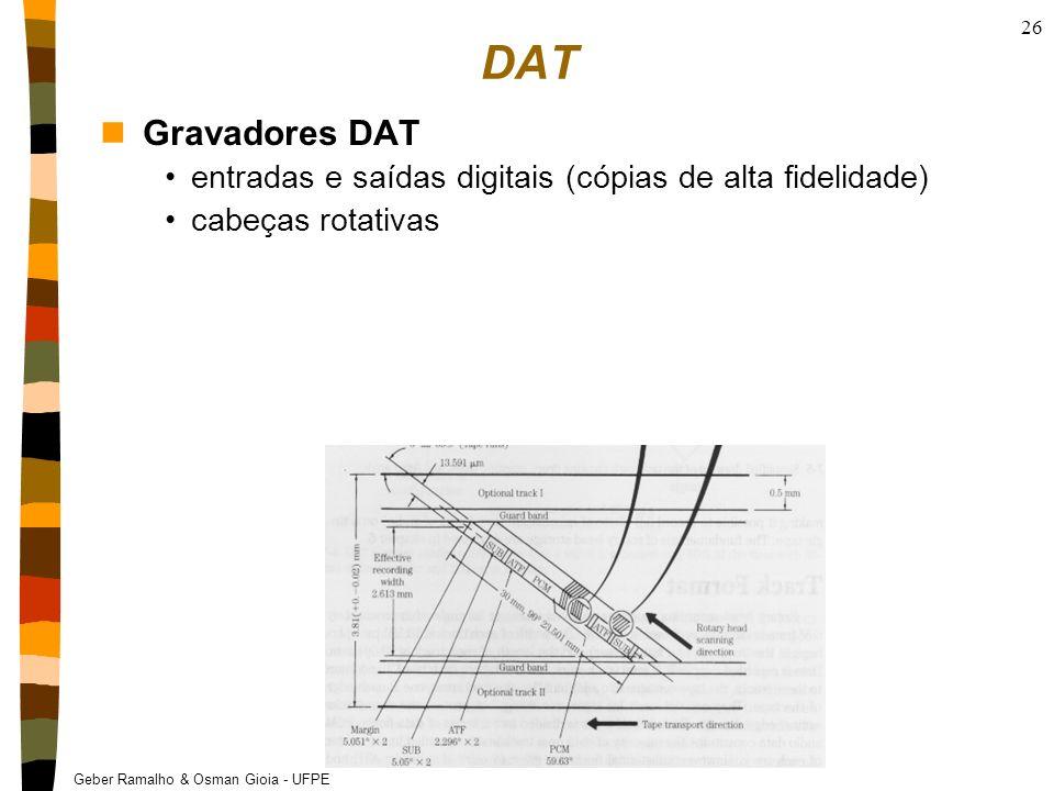 Geber Ramalho & Osman Gioia - UFPE 26 DAT nGravadores DAT entradas e saídas digitais (cópias de alta fidelidade) cabeças rotativas