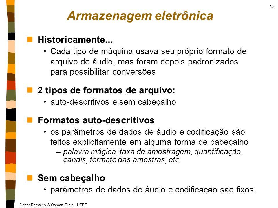 Geber Ramalho & Osman Gioia - UFPE 34 Armazenagem eletrônica nHistoricamente... Cada tipo de máquina usava seu próprio formato de arquivo de áudio, ma