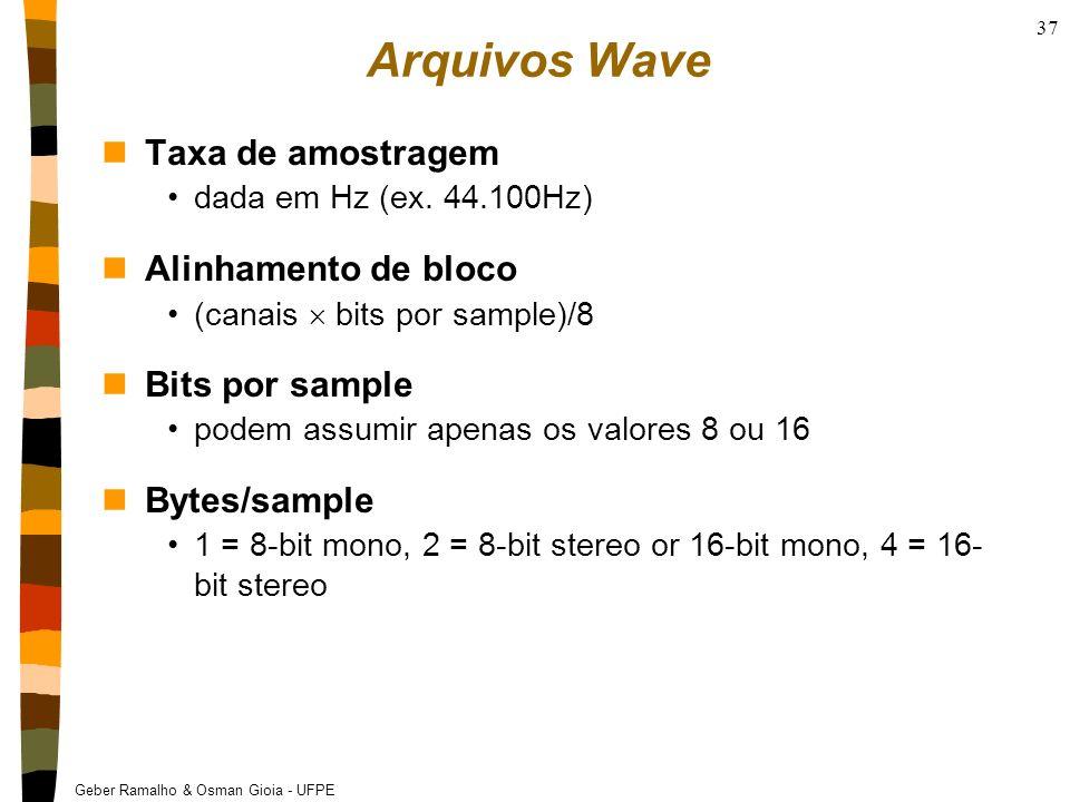 Geber Ramalho & Osman Gioia - UFPE 37 Arquivos Wave nTaxa de amostragem dada em Hz (ex. 44.100Hz) nAlinhamento de bloco (canais bits por sample)/8 nBi
