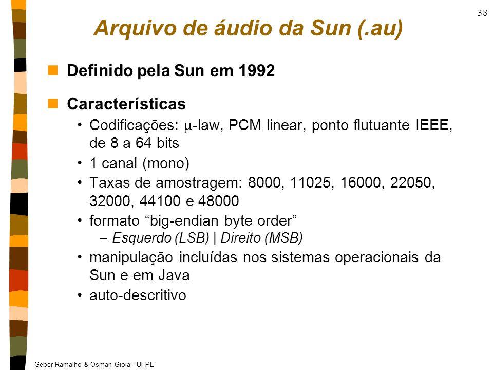 Geber Ramalho & Osman Gioia - UFPE 38 Arquivo de áudio da Sun (.au) nDefinido pela Sun em 1992 nCaracterísticas Codificações: -law, PCM linear, ponto