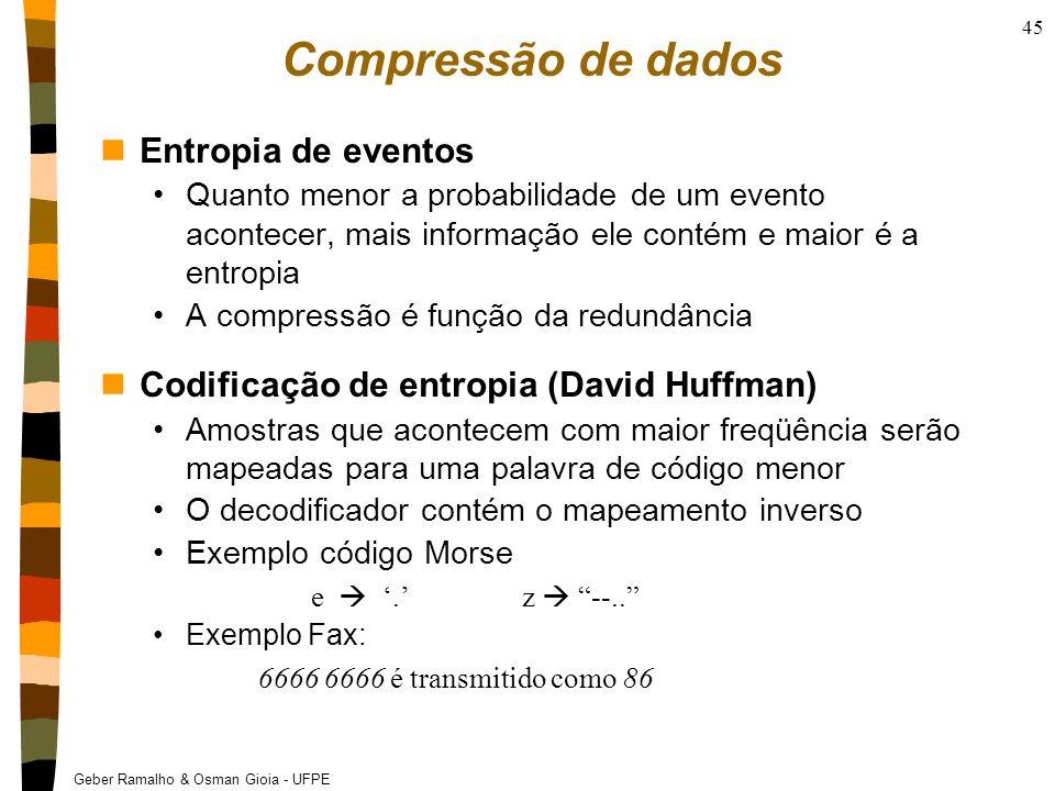 Geber Ramalho & Osman Gioia - UFPE 45 Compressão de dados nEntropia de eventos Quanto menor a probabilidade de um evento acontecer, mais informação el