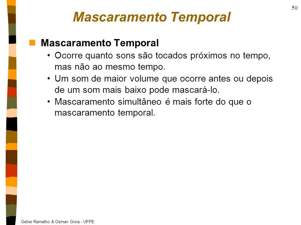 Geber Ramalho & Osman Gioia - UFPE 50 Mascaramento Temporal nMascaramento Temporal Ocorre quanto sons são tocados próximos no tempo, mas não ao mesmo