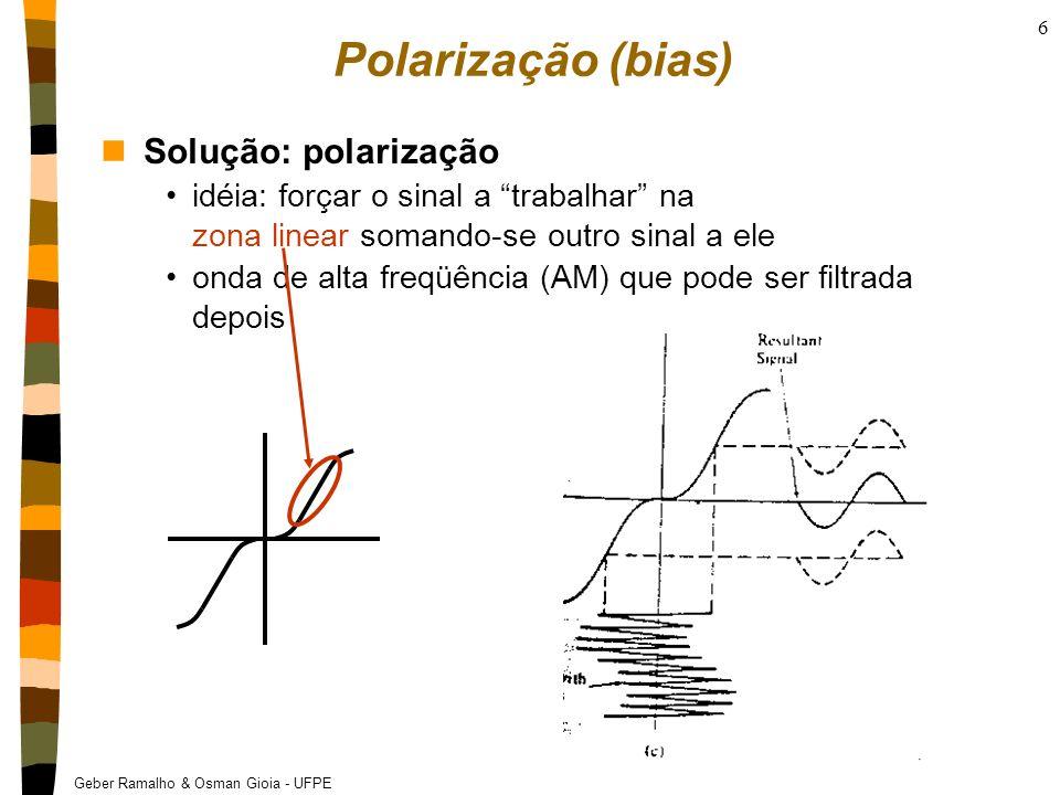 Geber Ramalho & Osman Gioia - UFPE 47 Psico-acústica nFator de compressão: Limiar Auditivo Menor nível que o ouvido pode detectar a uma determinada freqüência Um codificador perceptual compara o sinal de entrada com o limiar de audição e descarta os sinais que estão abaixo