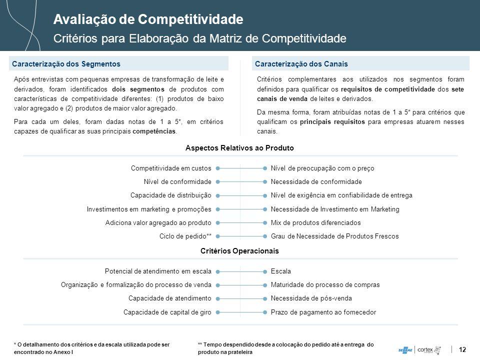 12 Avaliação de Competitividade Critérios para Elaboração da Matriz de Competitividade Caracterização dos SegmentosCaracterização dos Canais Competiti