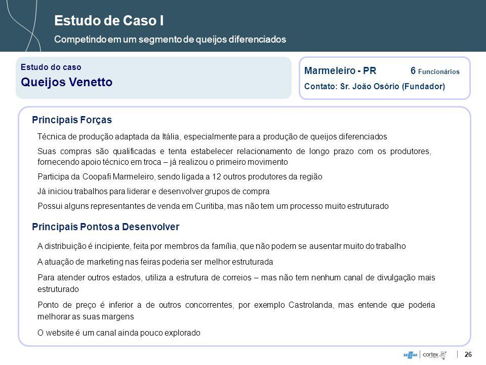 26 Estudo de Caso I Competindo em um segmento de queijos diferenciados Estudo do caso Queijos Venetto Marmeleiro - PR6 Funcionários Contato: Sr. João