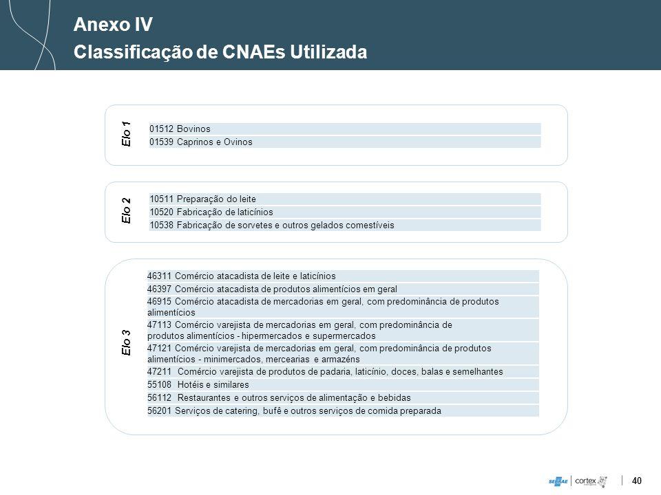 40 Anexo IV Classificação de CNAEs Utilizada Elo 1 01512 Bovinos 01539 Caprinos e Ovinos 10511 Preparação do leite 10520 Fabricação de laticínios 1053