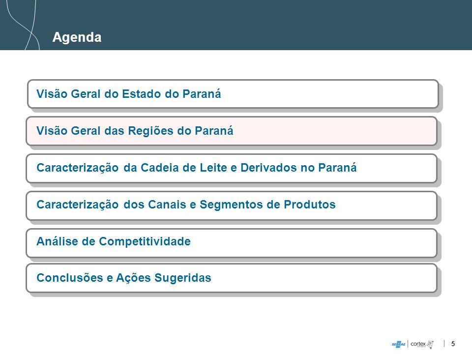 6 Visão Geral das Regiões do Paraná PIB (milhões): R$ 19.695,85 Principais Cidades: Maringá, Umuarama, Campo Mourão e Paranavaí Principais Atividades Econômicas: Agronegócio, Indústria de Transformação, Confecção, Serviços de Informação e Comunicação Produção de Leite 2008 (mil L): 383.703 (14%) Crescimento (Produção 2004-2007): 0,04% Principais serviços / empresas: Vigor/Leco, Líder, Nereu Márcio Selete, Laticínio San Diego, Cruzeiro do Oeste e Leites Pic Nic.
