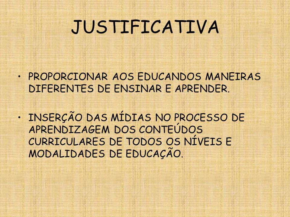 JUSTIFICATIVA PROPORCIONAR AOS EDUCANDOS MANEIRAS DIFERENTES DE ENSINAR E APRENDER. INSERÇÃO DAS MÍDIAS NO PROCESSO DE APRENDIZAGEM DOS CONTEÚDOS CURR