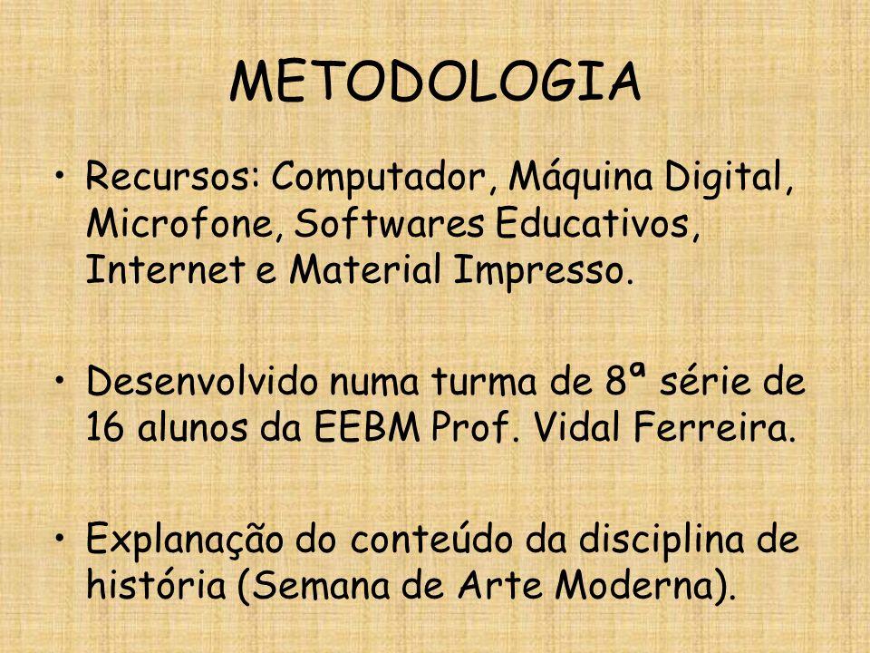 METODOLOGIA Recursos: Computador, Máquina Digital, Microfone, Softwares Educativos, Internet e Material Impresso. Desenvolvido numa turma de 8ª série