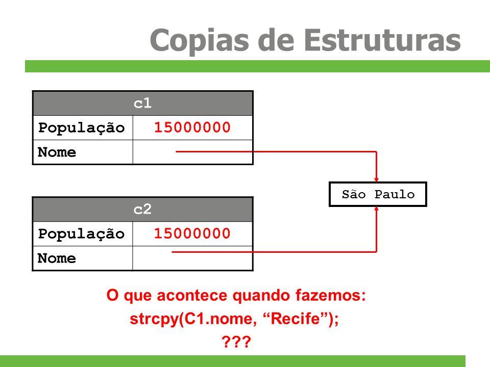 Copias de Estruturas São Paulo O que acontece quando fazemos: strcpy(C1.nome, Recife); ??? c2 População15000000 Nome c1 População15000000 Nome