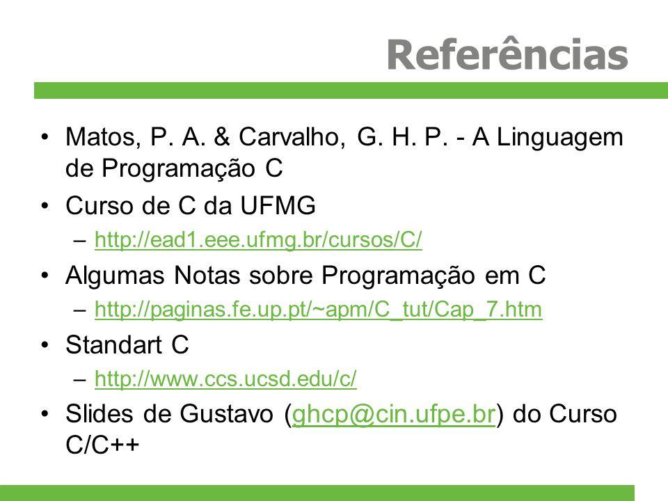 Referências Matos, P. A. & Carvalho, G. H. P. - A Linguagem de Programação C Curso de C da UFMG –http://ead1.eee.ufmg.br/cursos/C/http://ead1.eee.ufmg