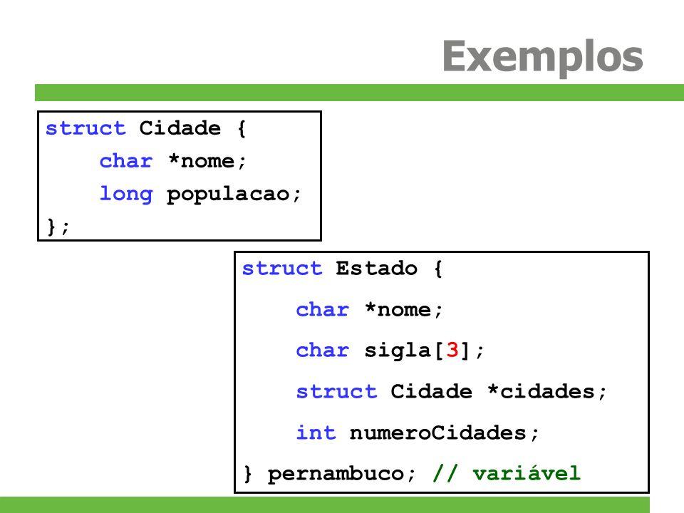 Exercícios 3)Crie as seguintes estruturas: struct Node { // Nó da pilha int value; struct Node *next; }; struct Stack { // Pilha struct Node *first; }; –Defina também as funções: void push(struct Stack *stack, struct Node *node); Insere node no topo de stack struct Node *pop(struct Stack *stack); Remove e retorna o primeiro elemento de stack –Não se esqueça de desalocar a memória no final do programa –Sinta-se à vontade para criar funções auxiliares