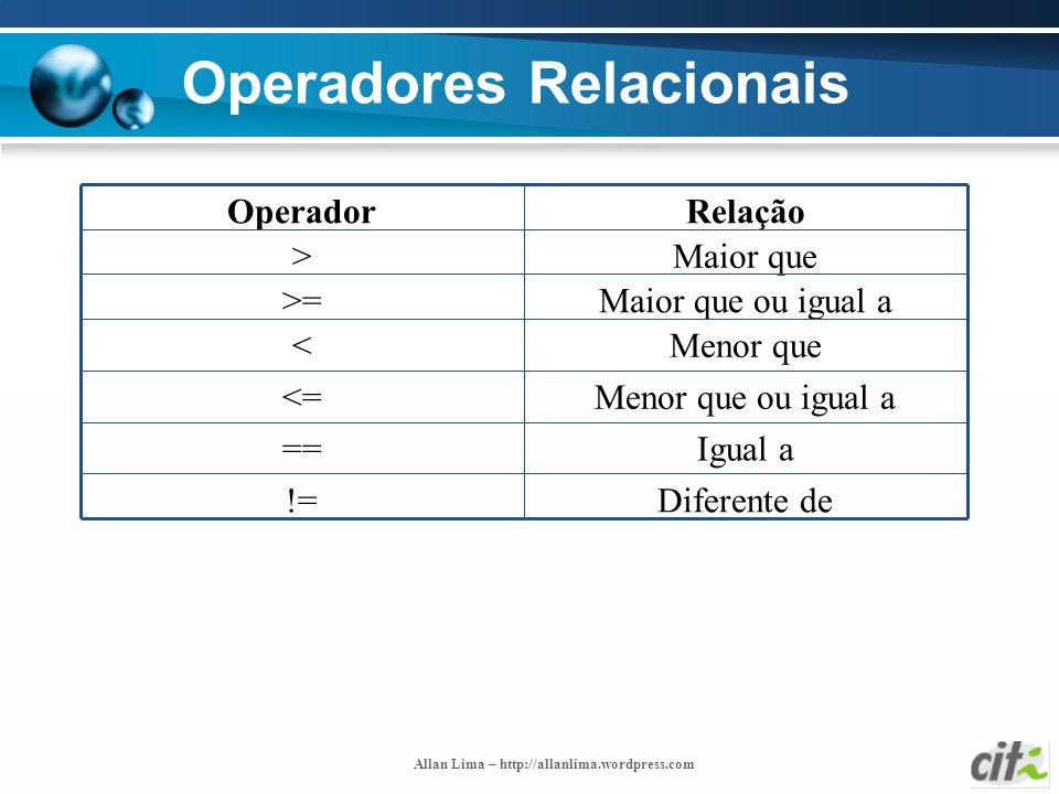 Allan Lima – http://allanlima.wordpress.com Operadores Relacionais Diferente de!= Igual a== Menor que ou igual a<= Menor que< Maior que ou igual a>= M