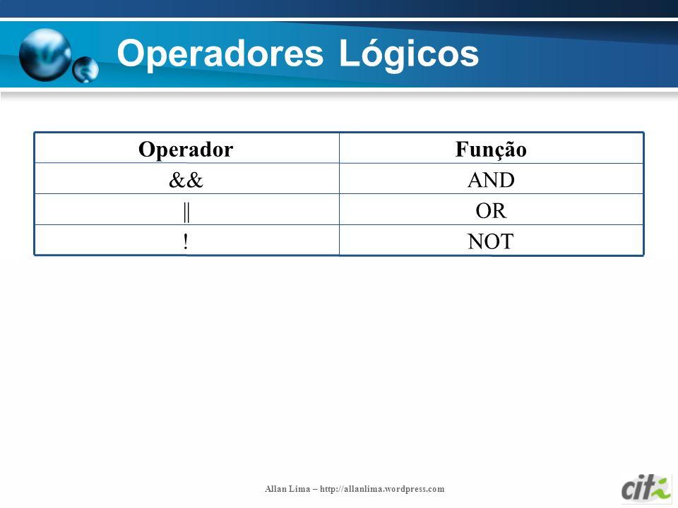 Allan Lima – http://allanlima.wordpress.com Operadores Lógicos NOT! OR|| AND&& FunçãoOperador
