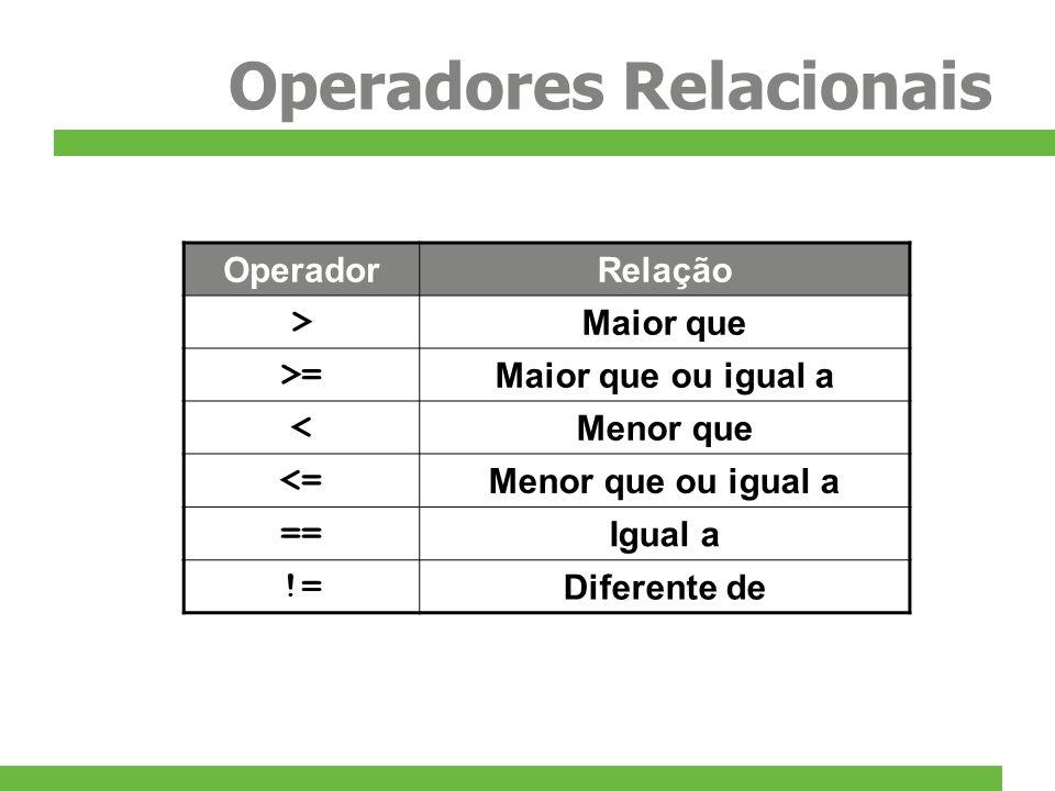 Operadores Relacionais OperadorRelação > Maior que >= Maior que ou igual a < Menor que <= Menor que ou igual a == Igual a != Diferente de