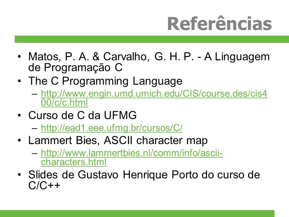 Referências Matos, P. A. & Carvalho, G. H. P. - A Linguagem de Programação C The C Programming Language –http://www.engin.umd.umich.edu/CIS/course.des