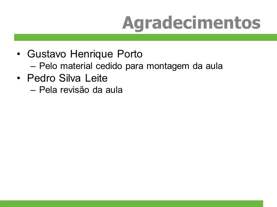 Agradecimentos Gustavo Henrique Porto –Pelo material cedido para montagem da aula Pedro Silva Leite –Pela revisão da aula