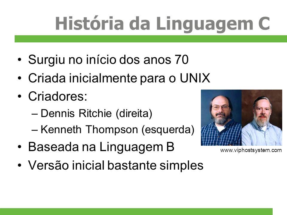 História da Linguagem C Ampla popularização nos anos 80 Muitas arquiteturas e compiladores Problemas com a incompatibilidade Padronização de 82 a 89 (C ANSI) Até hoje existem problemas entre os diversos compiladores e sistemas operacionais