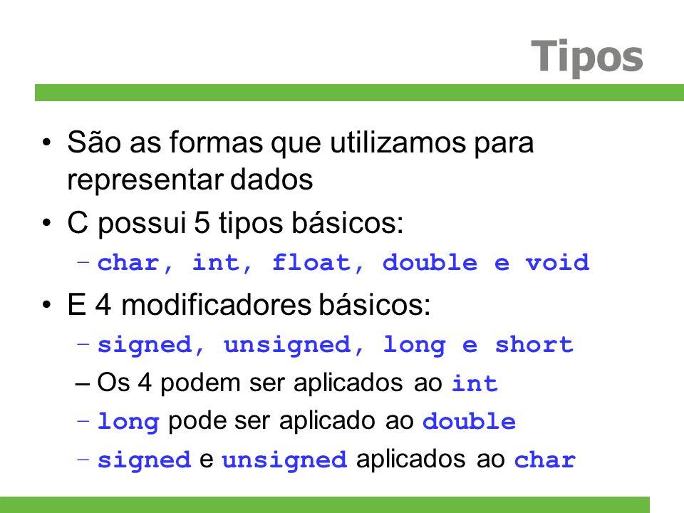 Tipos São as formas que utilizamos para representar dados C possui 5 tipos básicos: –char, int, float, double e void E 4 modificadores básicos: –signe
