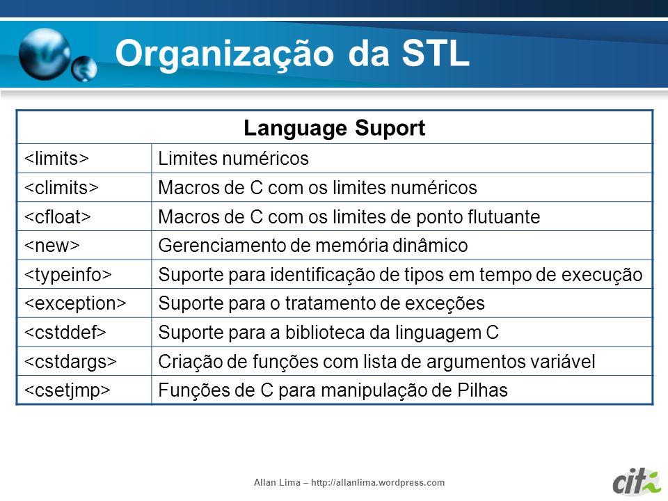 Allan Lima – http://allanlima.wordpress.com Organização da STL Language Suport Limites numéricos Macros de C com os limites numéricos Macros de C com