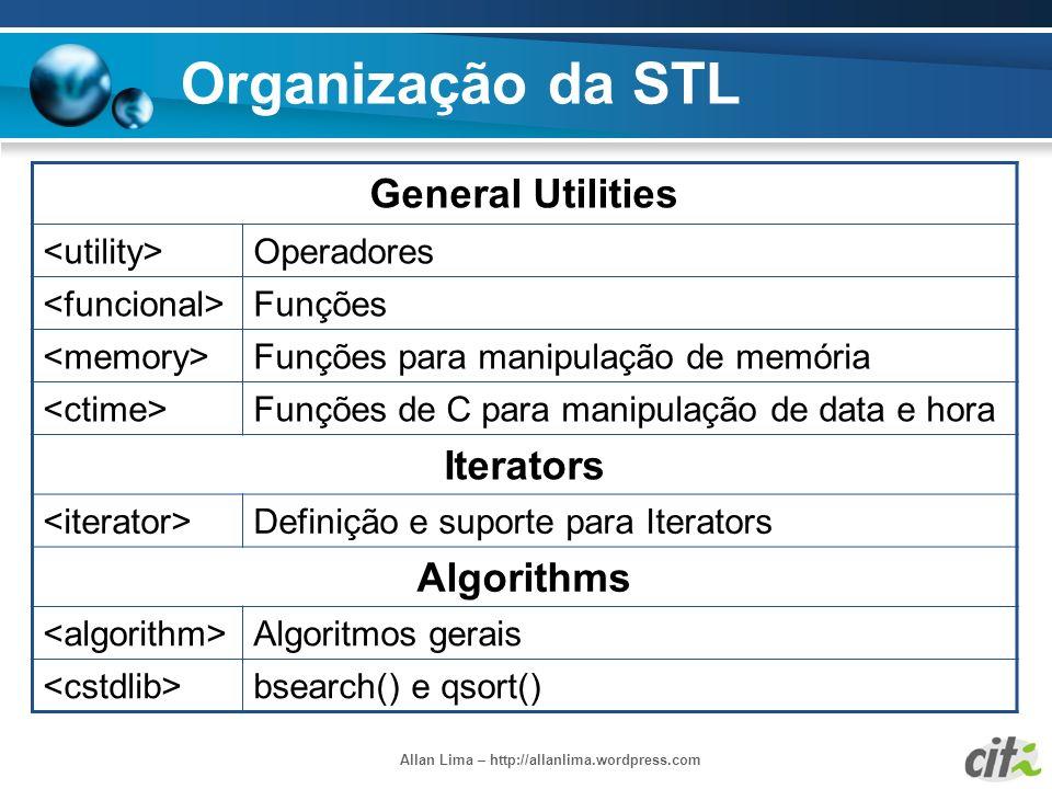 Allan Lima – http://allanlima.wordpress.com Organização da STL General Utilities Operadores Funções Funções para manipulação de memória Funções de C p