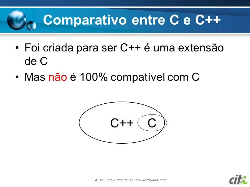 Allan Lima – http://allanlima.wordpress.com Comparativo entre C e C++ Foi criada para ser C++ é uma extensão de C Mas não é 100% compatível com C C++