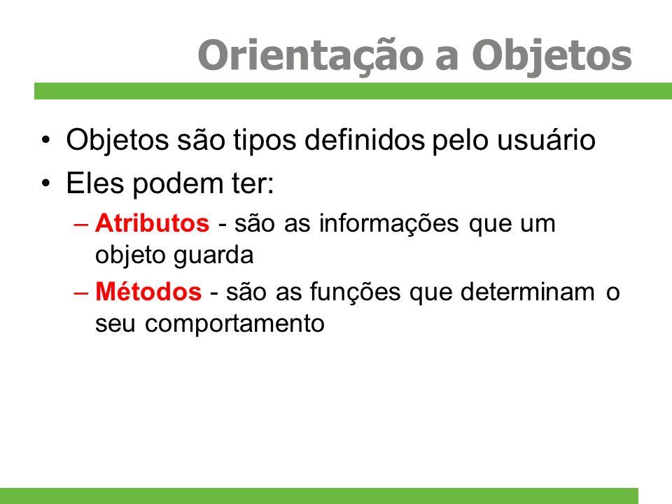 Orientação a Objetos Objetos são tipos definidos pelo usuário Eles podem ter: –Atributos - são as informações que um objeto guarda –Métodos - são as f