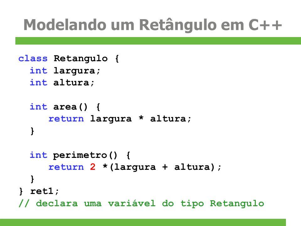 Modelando um Retângulo em C++ class Retangulo { int largura; int altura; int area() { return largura * altura; } int perimetro() { return 2 *(largura