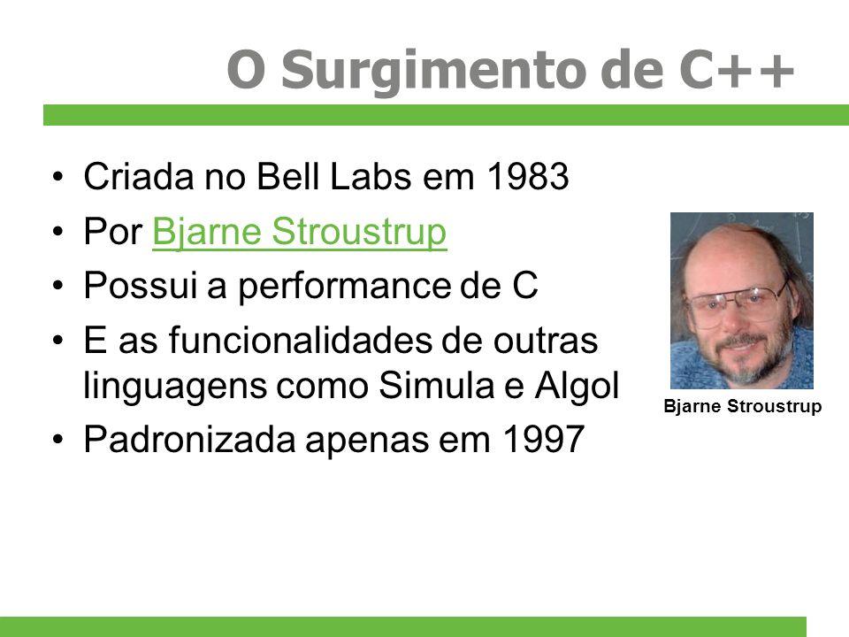 O Surgimento de C++ Criada no Bell Labs em 1983 Por Bjarne StroustrupBjarne Stroustrup Possui a performance de C E as funcionalidades de outras lingua