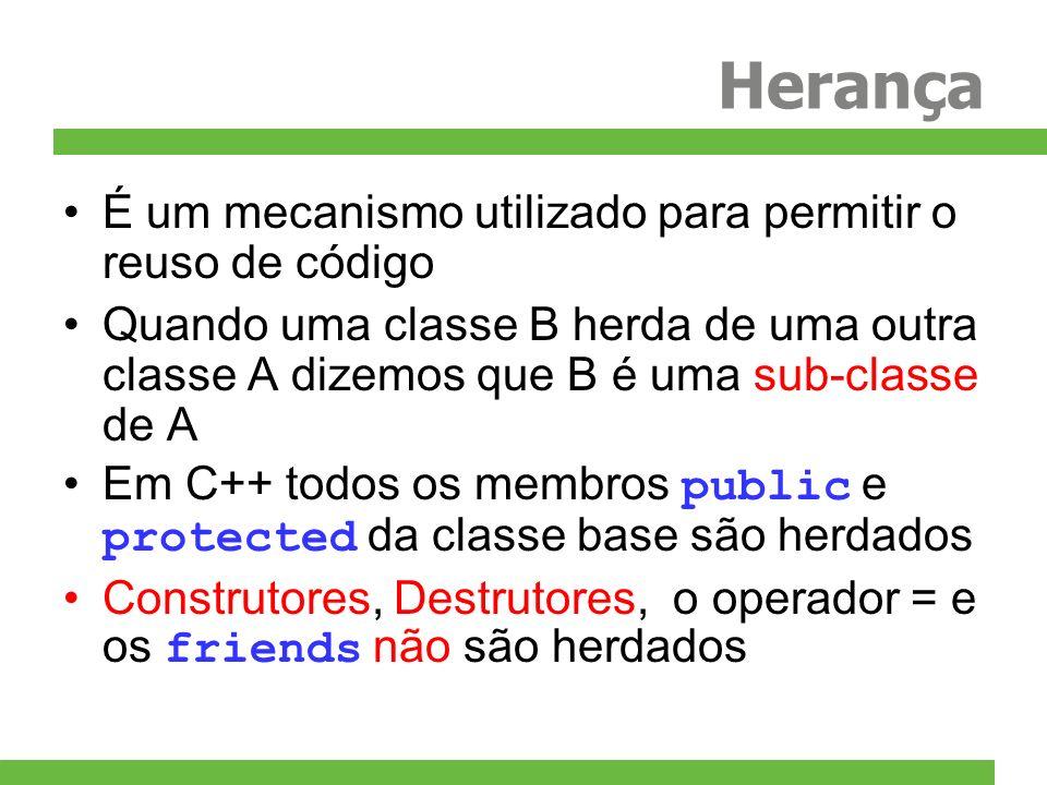 Herança É um mecanismo utilizado para permitir o reuso de código Quando uma classe B herda de uma outra classe A dizemos que B é uma sub-classe de A Em C++ todos os membros public e protected da classe base são herdados Construtores, Destrutores, o operador = e os friends não são herdados