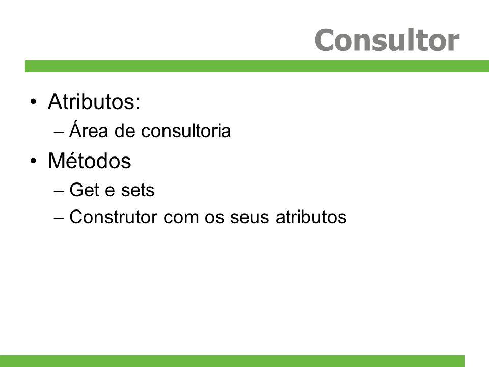 Consultor Atributos: –Área de consultoria Métodos –Get e sets –Construtor com os seus atributos