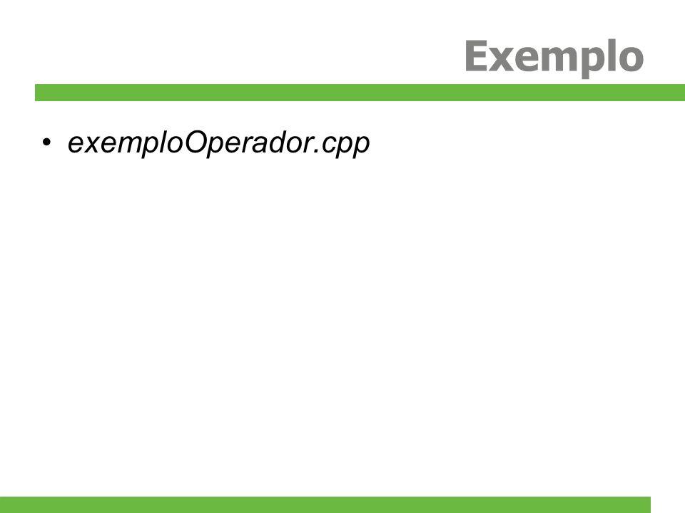 Overload de Operadores C++ permite a sobrecarga dos seguintes operadores: Unários: +-*!~&++--()->->* newdelete Binários: +-*/%&|^<<>> =+=-=/=%=&=|=^=<<=>>= = !=<><=>=&&||[](),