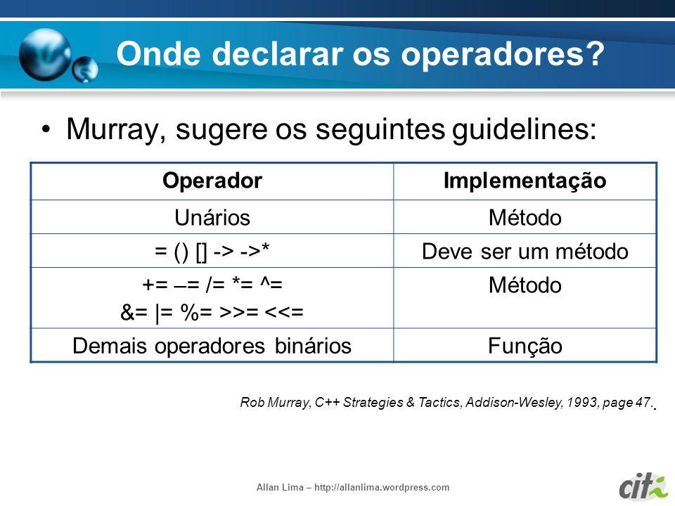 Allan Lima – http://allanlima.wordpress.com Onde declarar os operadores? Murray, sugere os seguintes guidelines: OperadorImplementação UnáriosMétodo =
