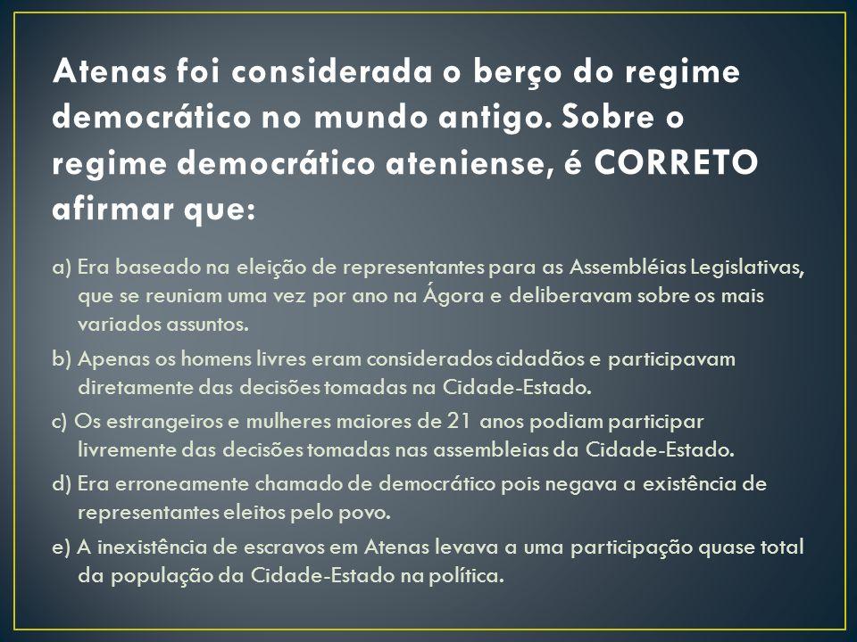 a) Era baseado na eleição de representantes para as Assembléias Legislativas, que se reuniam uma vez por ano na Ágora e deliberavam sobre os mais vari
