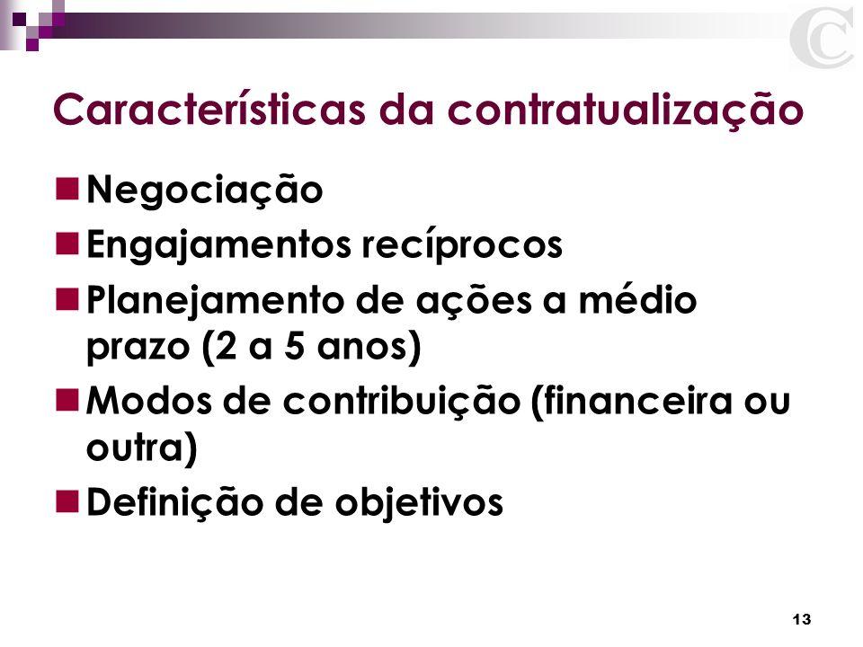 13 Características da contratualização Negociação Engajamentos recíprocos Planejamento de ações a médio prazo (2 a 5 anos) Modos de contribuição (fina