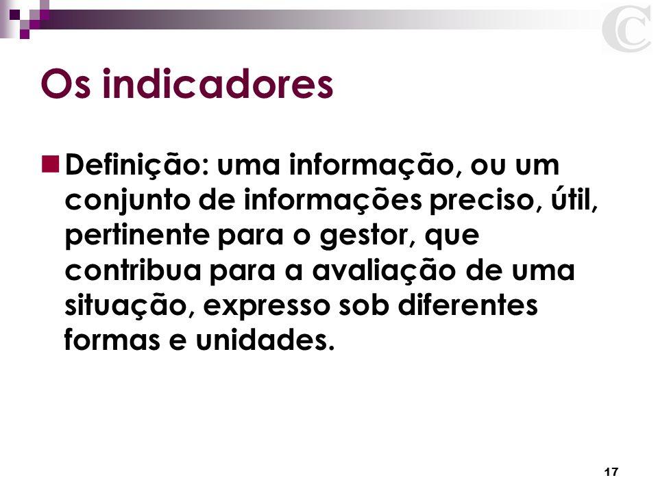 17 Os indicadores Definição: uma informação, ou um conjunto de informações preciso, útil, pertinente para o gestor, que contribua para a avaliação de
