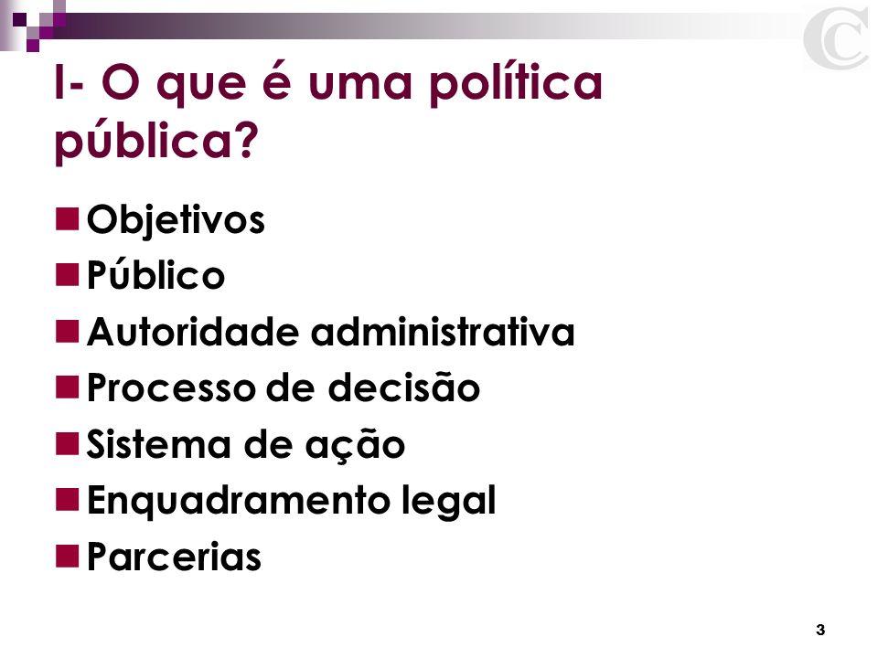3 I- O que é uma política pública? Objetivos Público Autoridade administrativa Processo de decisão Sistema de ação Enquadramento legal Parcerias