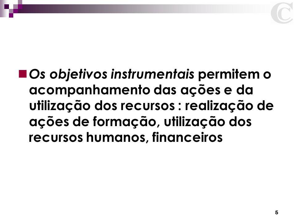 5 Os objetivos instrumentais permitem o acompanhamento das ações e da utilização dos recursos : realização de ações de formação, utilização dos recurs