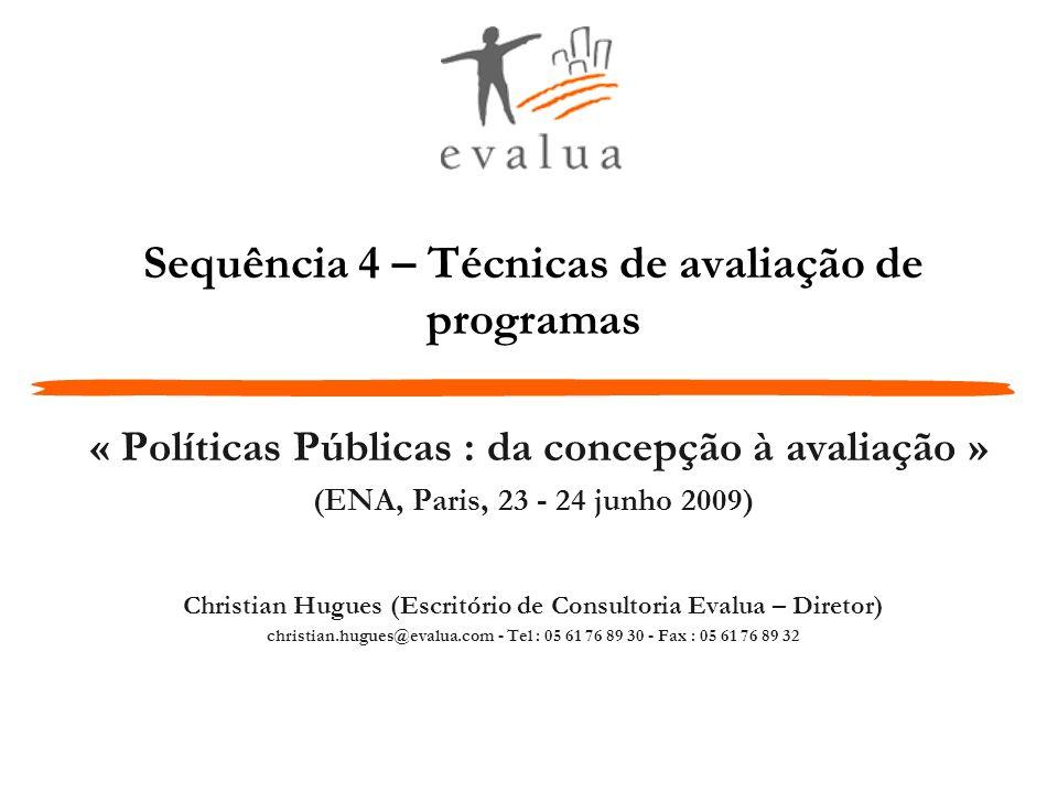 Sequência 4 – Técnicas de avaliação de programas « Políticas Públicas : da concepção à avaliação » (ENA, Paris, 23 - 24 junho 2009) Christian Hugues (
