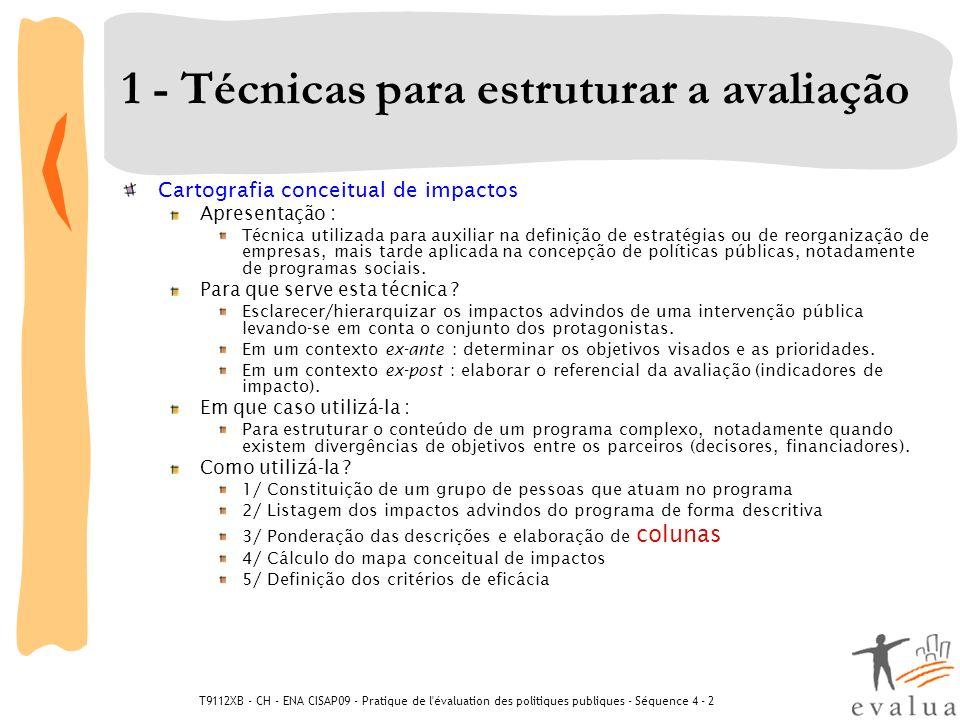 T9112XB - CH - ENA CISAP09 - Pratique de l évaluation des politiques publiques - Séquence 4 - 2 3 - Técnicas para formular um julgamento Análise custo-eficácia Apresentação : Método pragmático focado diretamento no efeito principal de uma intervenção pública em relação a seu custo e que exclui voluntariamente outros efeitos potenciais.