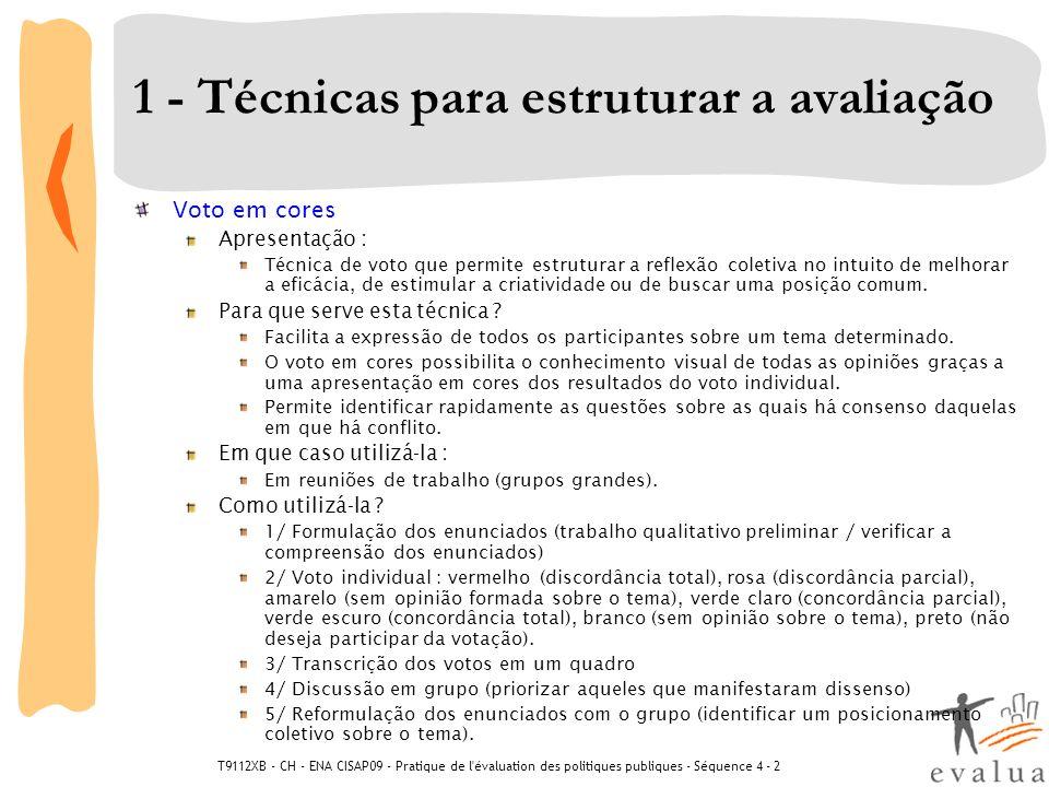 T9112XB - CH - ENA CISAP09 - Pratique de l'évaluation des politiques publiques - Séquence 4 - 2 1 - Técnicas para estruturar a avaliação Voto em cores