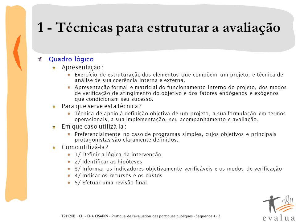 T9112XB - CH - ENA CISAP09 - Pratique de l'évaluation des politiques publiques - Séquence 4 - 2 1 - Técnicas para estruturar a avaliação Quadro lógico
