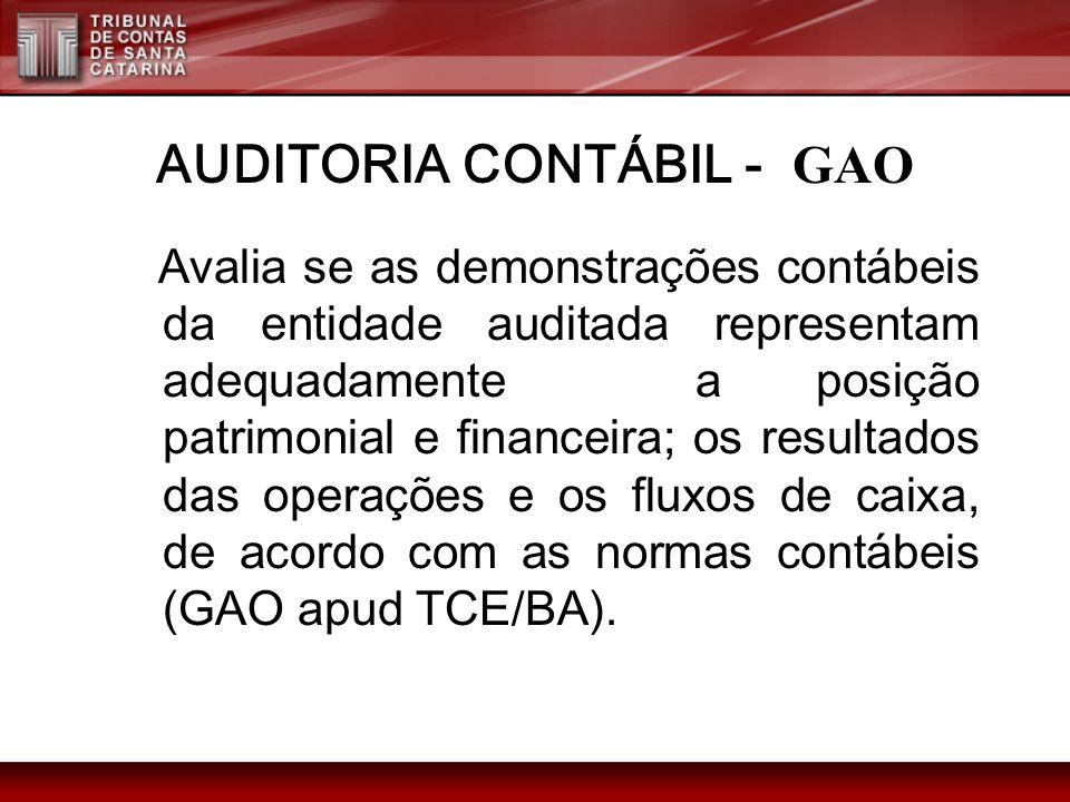 AUDITORIA CONTÁBIL - GAO Avalia se as demonstrações contábeis da entidade auditada representam adequadamente a posição patrimonial e financeira; os re