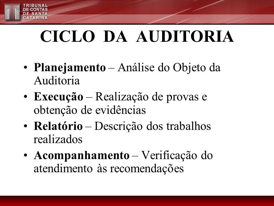 CICLO DA AUDITORIA Planejamento – Análise do Objeto da Auditoria Execução – Realização de provas e obtenção de evidências Relatório – Descrição dos tr