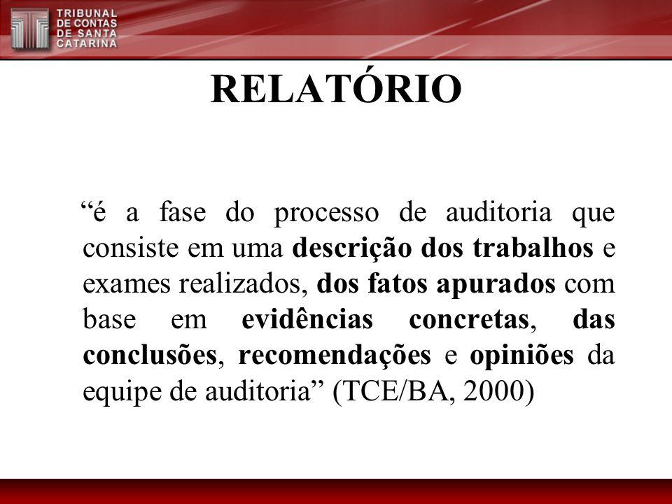 RELATÓRIO é a fase do processo de auditoria que consiste em uma descrição dos trabalhos e exames realizados, dos fatos apurados com base em evidências