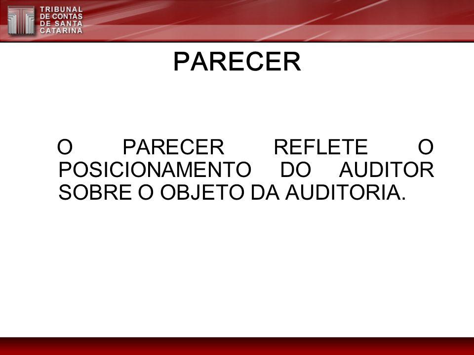 PARECER O PARECER REFLETE O POSICIONAMENTO DO AUDITOR SOBRE O OBJETO DA AUDITORIA.