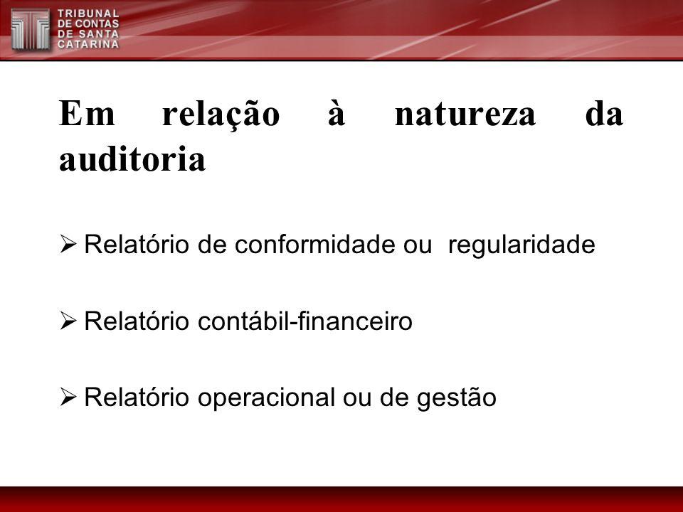 Em relação à natureza da auditoria Relatório de conformidade ou regularidade Relatório contábil-financeiro Relatório operacional ou de gestão