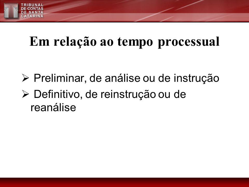 Em relação ao tempo processual Preliminar, de análise ou de instrução Definitivo, de reinstrução ou de reanálise