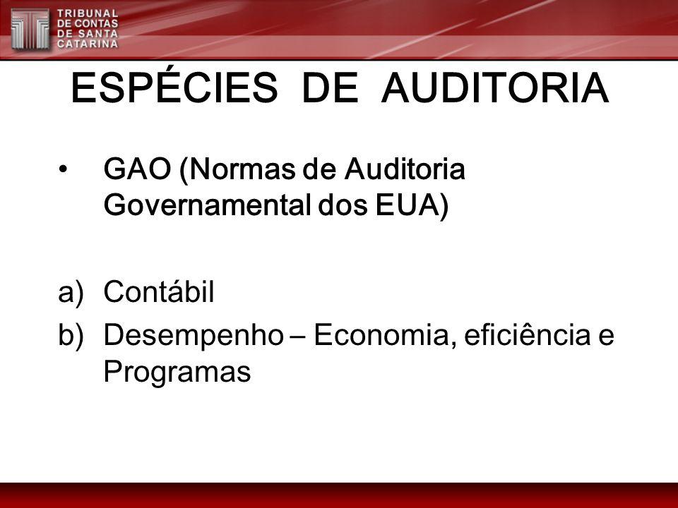 ESPÉCIES DE AUDITORIA GAO (Normas de Auditoria Governamental dos EUA) a)Contábil b)Desempenho – Economia, eficiência e Programas