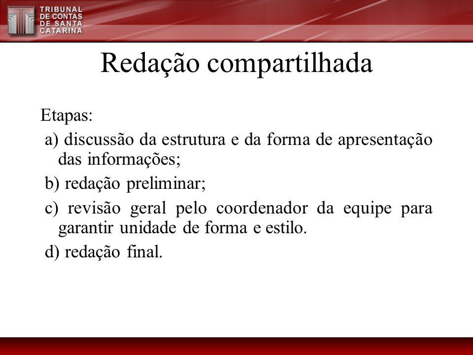 Redação compartilhada Etapas: a) discussão da estrutura e da forma de apresentação das informações; b) redação preliminar; c) revisão geral pelo coord